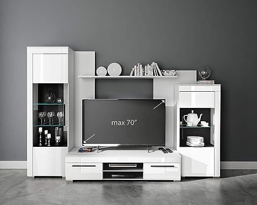 moebel-guenstig24.de Avio - Mueble de salón (4 Piezas) Dynamic24 - Vitrina para televisor, Color Blanco y Negro: Amazon.es: Juguetes y juegos