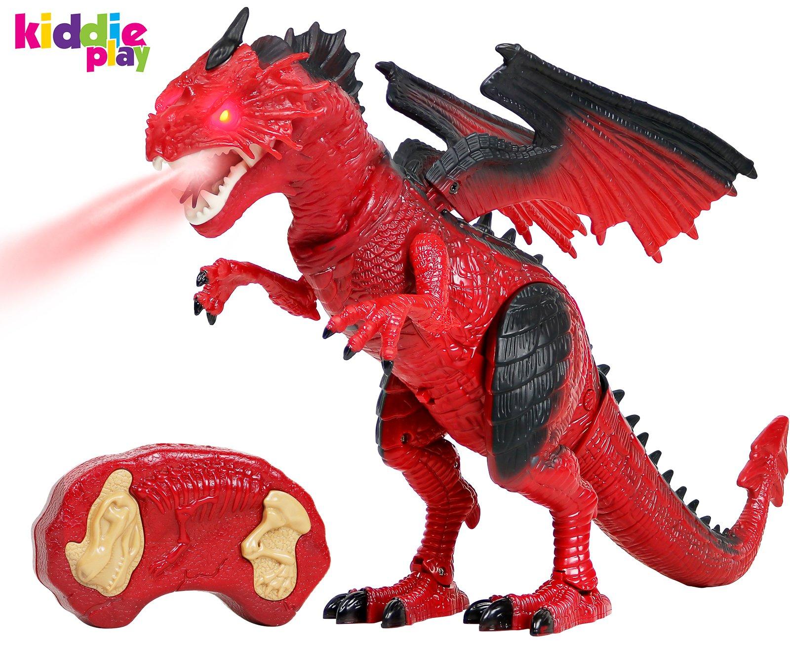 Kiddie Play Remote Control Dinosaur Toy Smoke Breathing and Walking Dragon with Lights and Sounds