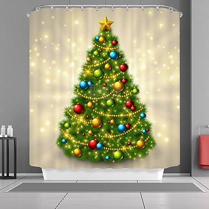 VANCAR Christmas Shower Curtain Sparkling Golden Tree Ornaments Balls Happy New Year Xmas Merry