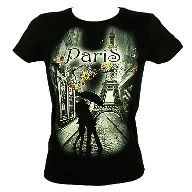 Souvenirs de France - T-Shirt Femme  Paris Fleuri  - Noir  Amazon.fr ... 4d82d0eac12d