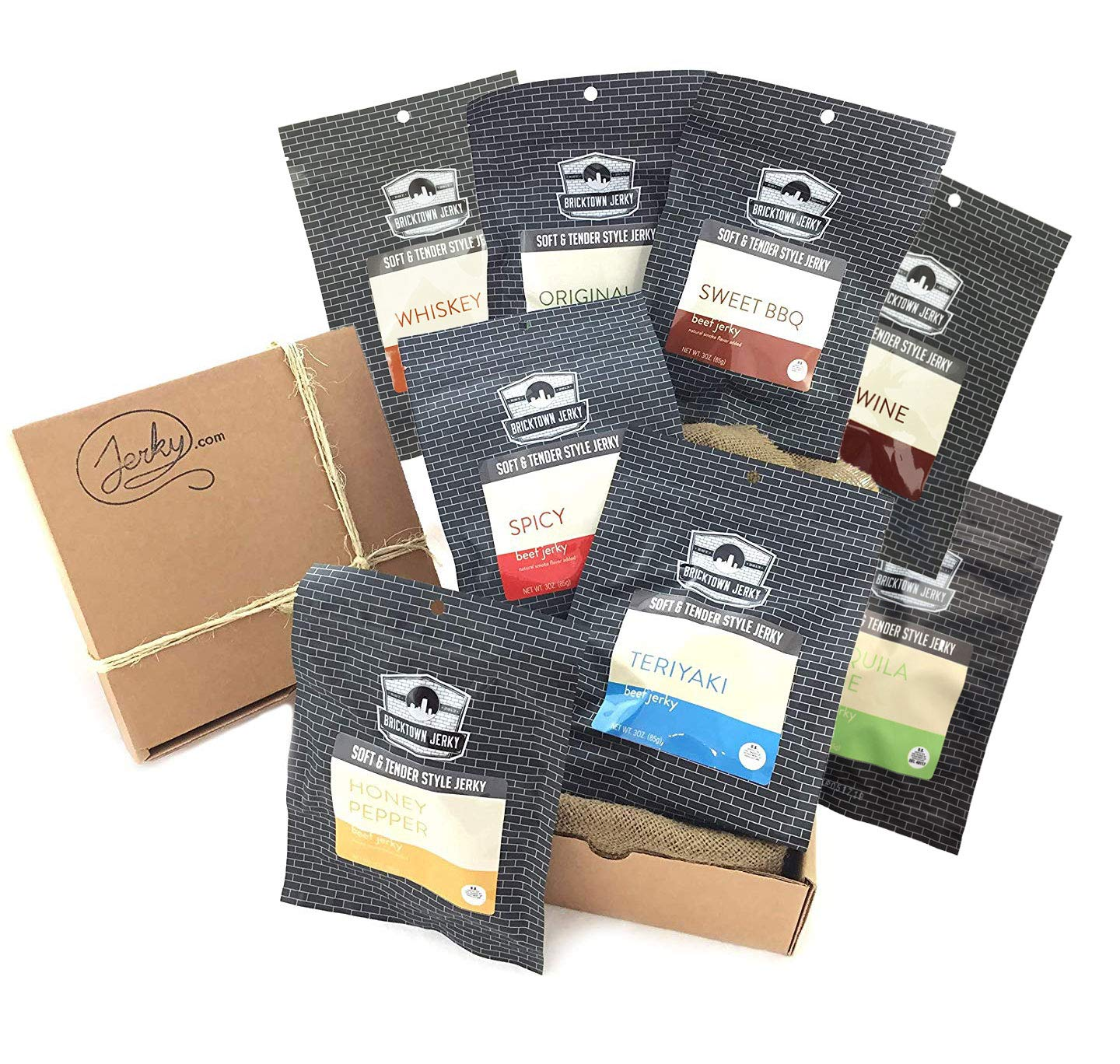 Bricktown Jerky Complete Beef Jerky Sampler Gift Basket - 8 flavors - Great Gift Idea for any Man!