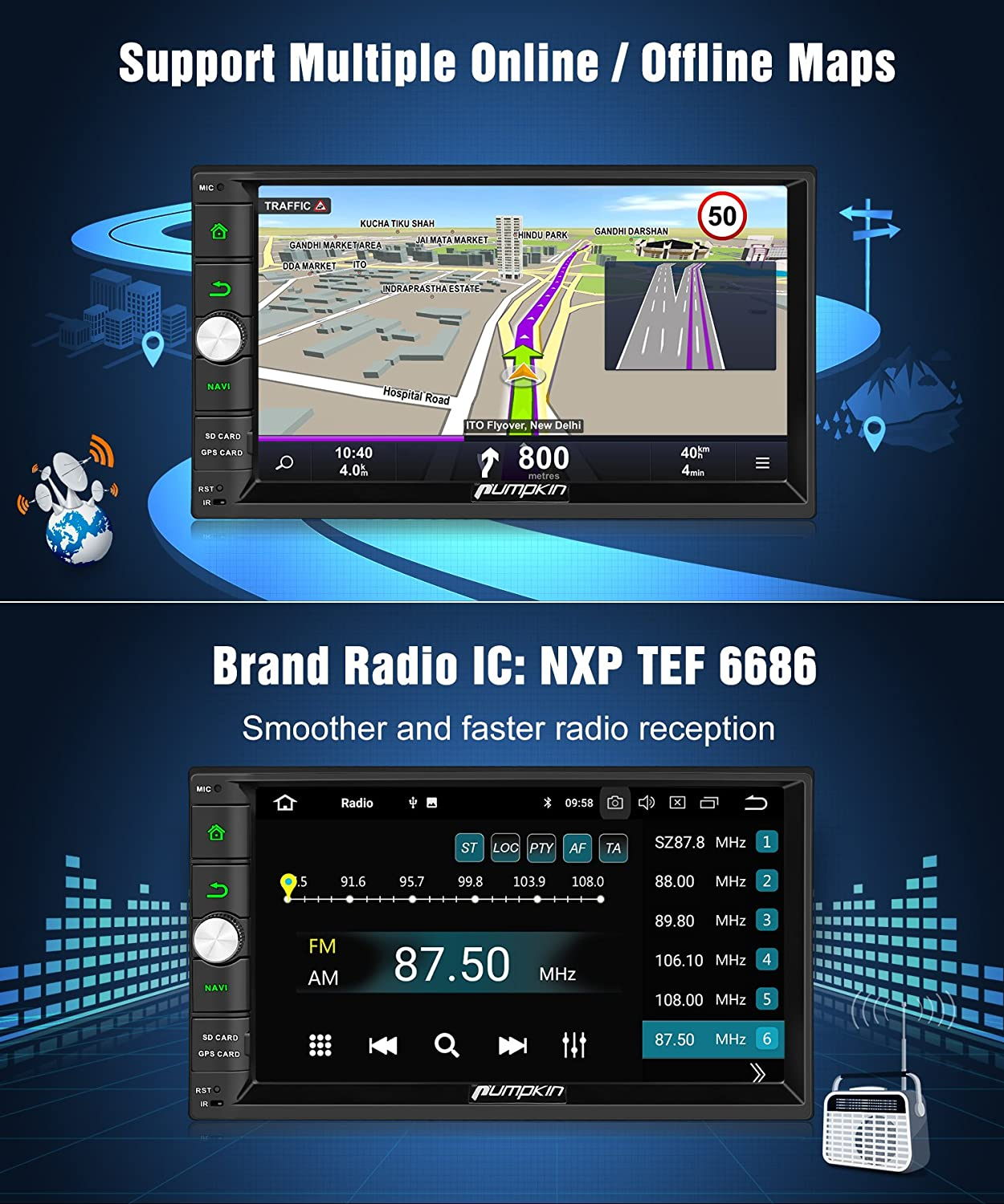 PUMPKIN Android 8.0 Car Stereo Double Din 4GB with GPS and WiFi 7 inch Touch Screen DD01273-US USB SD Backup Camera Support Fastboot Android Auto