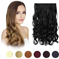 "FESHFEN 20"" One Piece 3/4 Full Head Clip in Hair Extensions Long Curly Wave Synthetic Hair Extensions 5 Clips Hairpieces for Women 130g"
