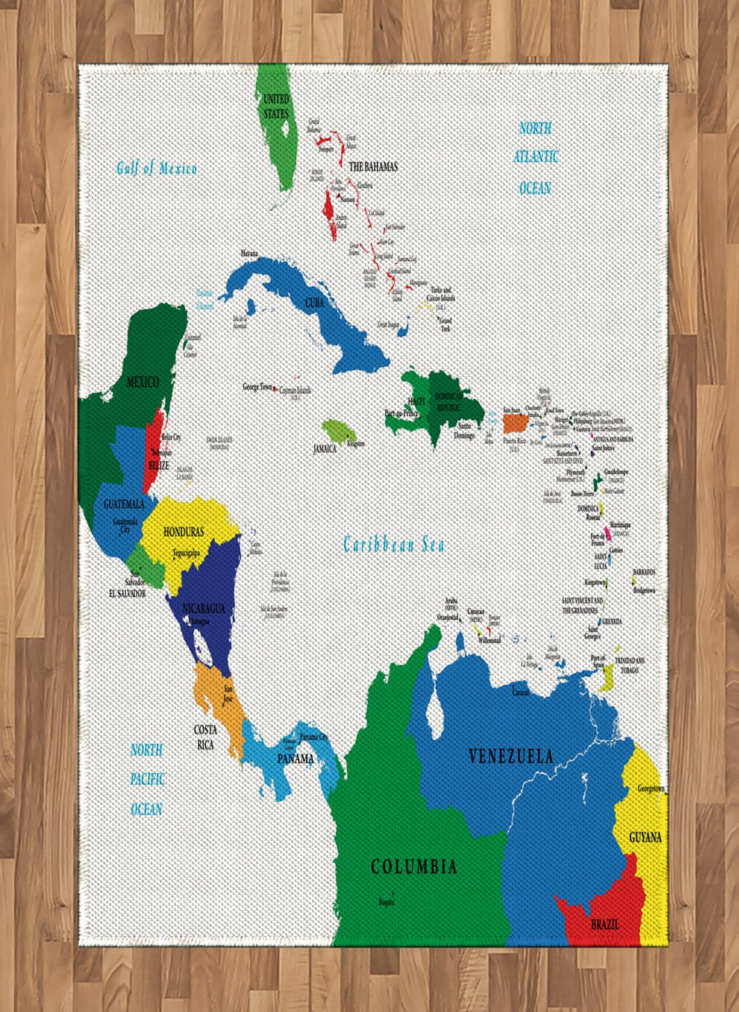 Amazon.com: Ambesonne Map Area Rug, Central America and The ...
