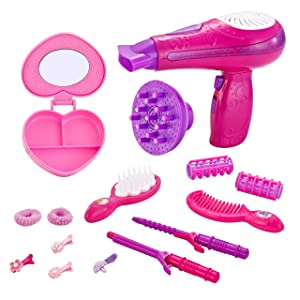 JOYIN Cute Little Girls Doll Beauty Fashion Salon Kit Pretend Play Set for Kids with Toy Hairdryer, Mirror and Other Accessories