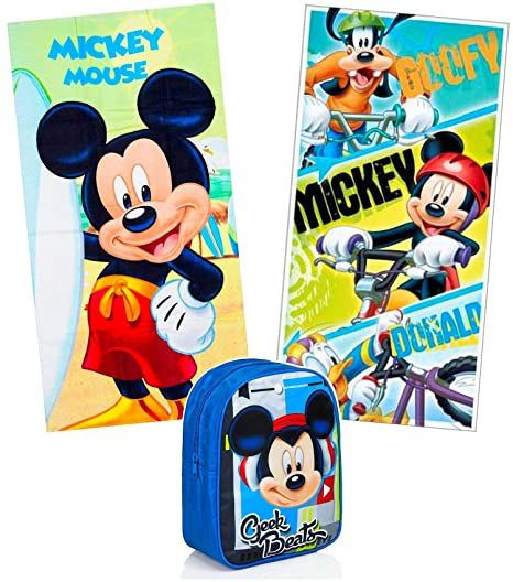 KingMungo 2 Pieza Mickey Mouse Toallas 70 x 140 + Mochila de Juego para Niños Disney