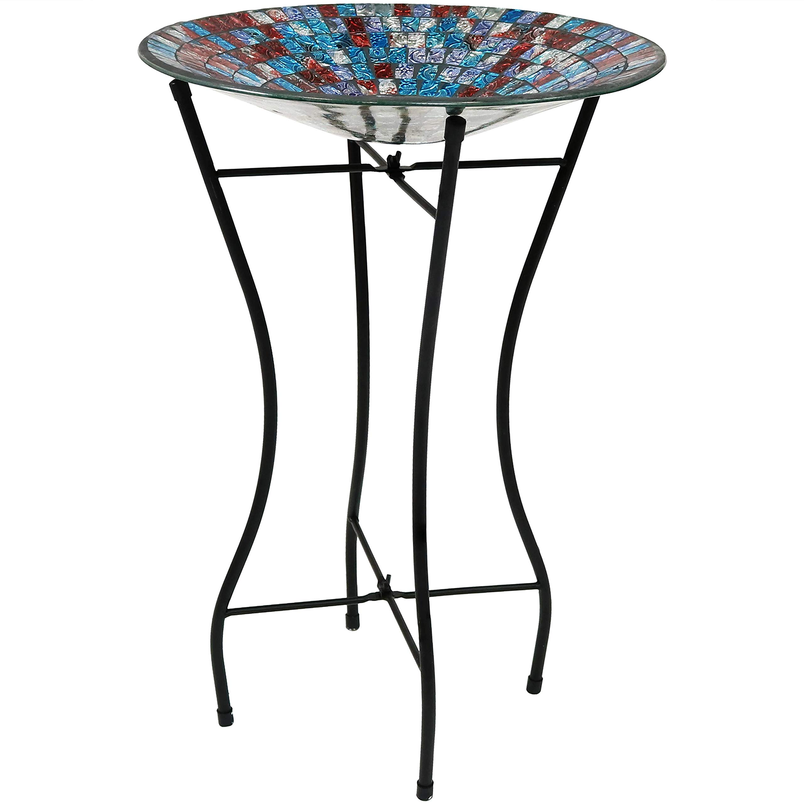 Sunnydaze Outdoor Bird Bath with Stand and Mosaic Tile Design, Multi-Color, Garden and Lawn Decor, 14-Inch Diameter
