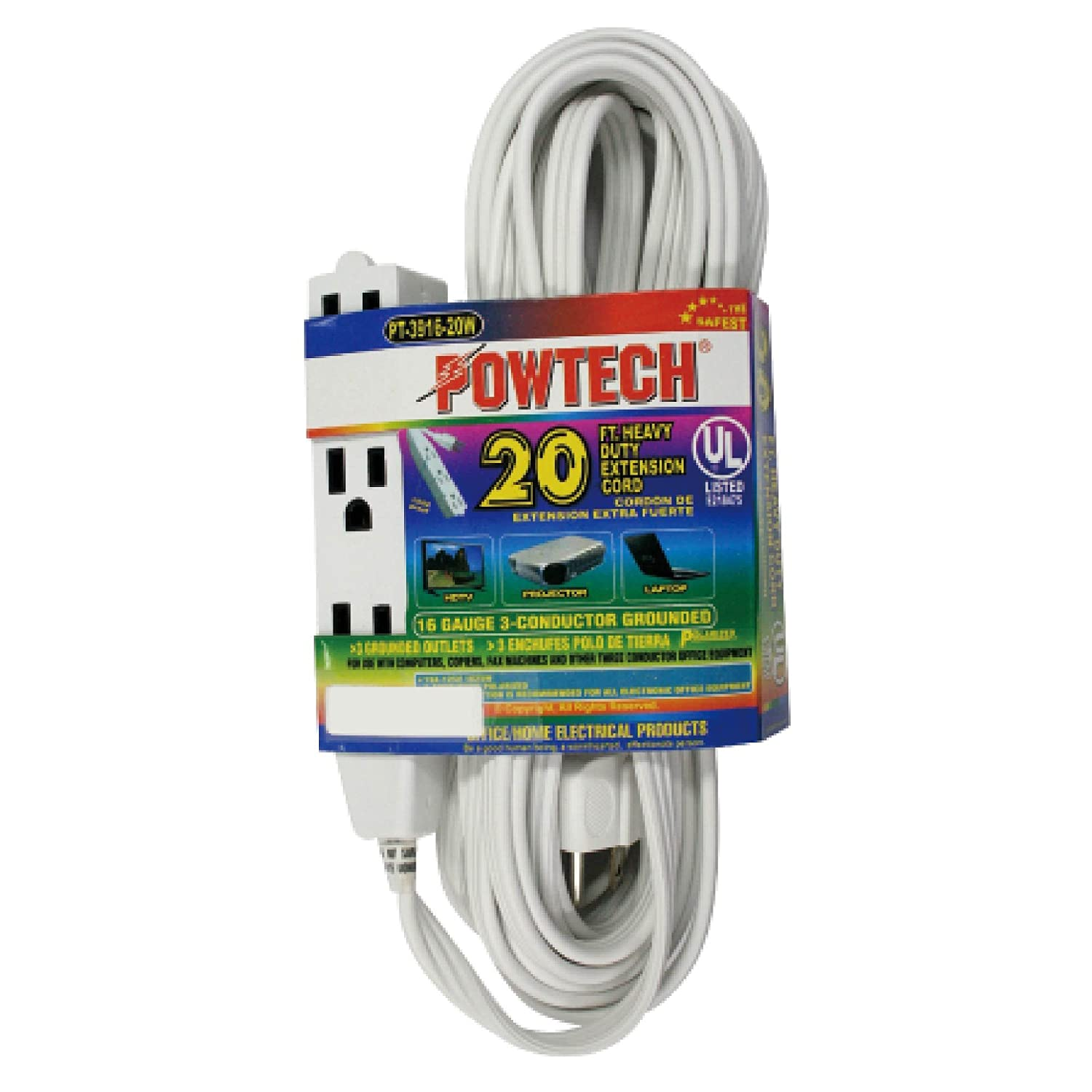 POWTECH Heavy Duty 3 Outlet Grounded Indoor Home Office Extention ...