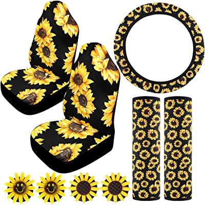 9 Pieces Sunflower Car Accessories Kit Include 2 Pieces Car Front Seat Covers, Sunflower Steering Wheel Cover, 2 Pieces Sunflower Seat Belt Covers and 4 Pieces Sunflower Car Vent Clips: Automotive