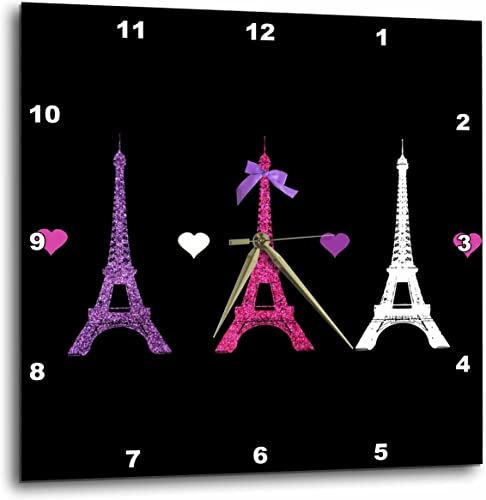 3dRose DPP_113151_2 Girly Eiffel Tower Paris Towers Love Hearts Stylish French Modern France Wall Clock, 13 by 13-Inch, Hot Pink Purple Black