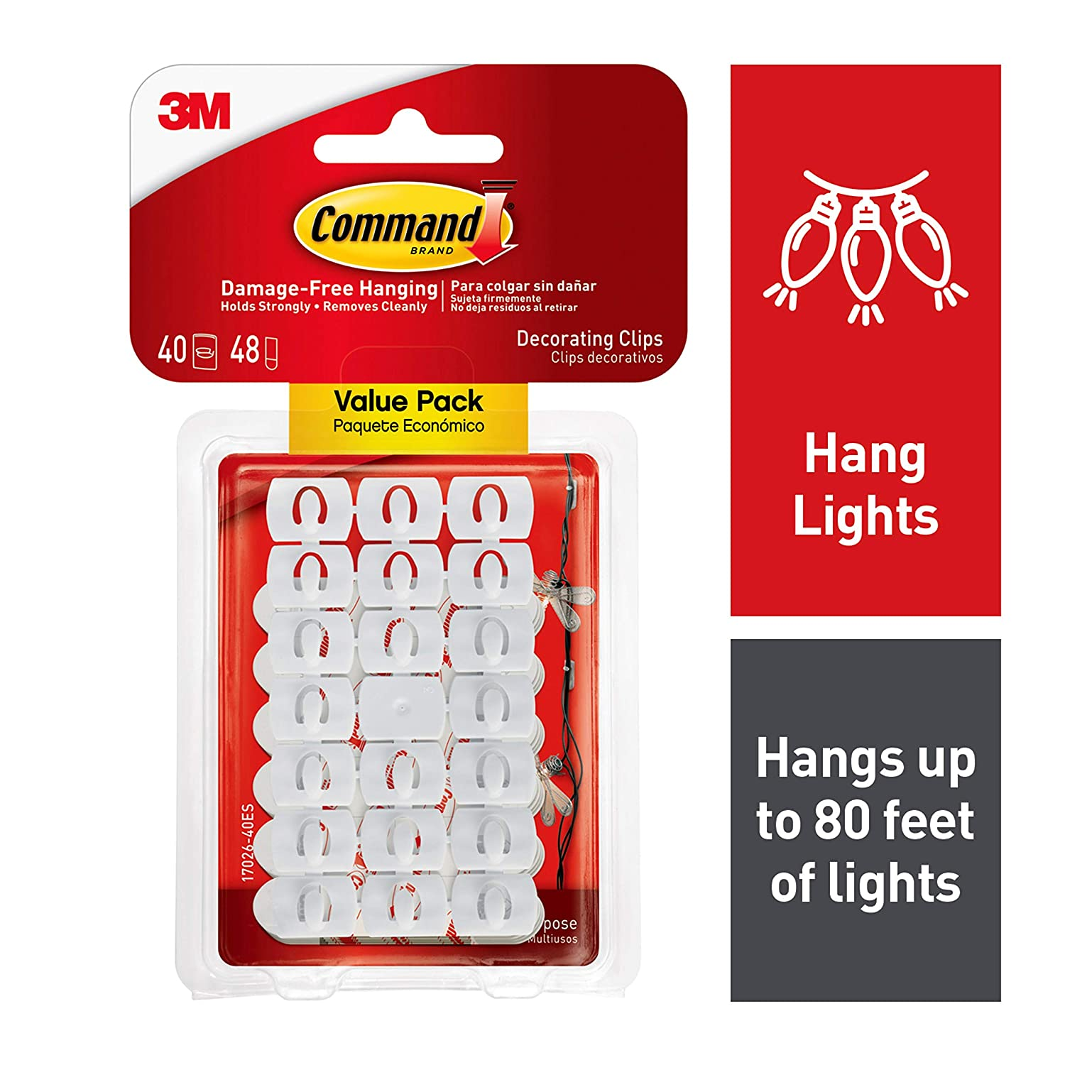 Command White Light Clips, Decorate Damage-Free (17026-40ES)