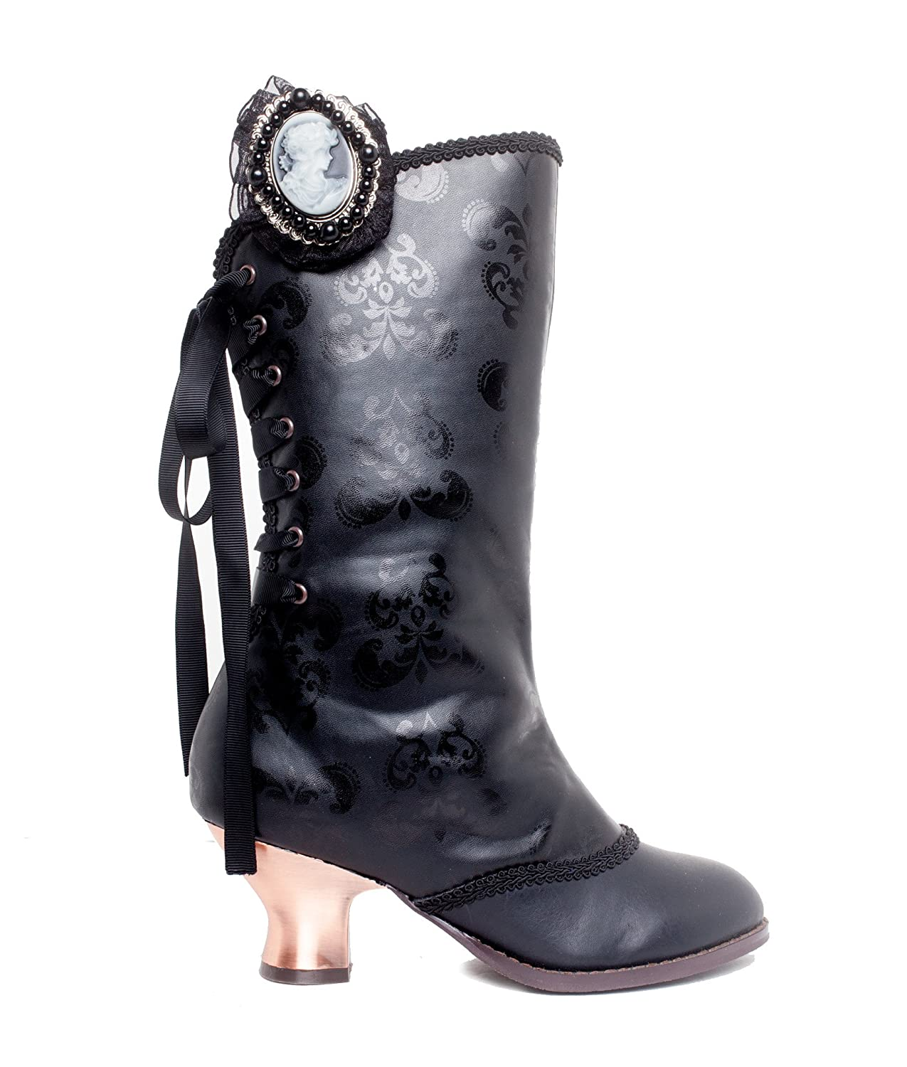 Clara Victorian Print Black Lace-Up Back Bronze Heel Ankle Boots with Detachable Cameo Pin - DeluxeAdultCostumes.com