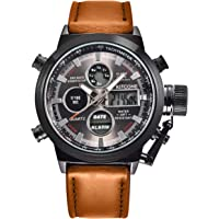 Kitcone Analogue Digital Multi Colour Dial Leather Brown Strap Mens & Boys Watch - PT1