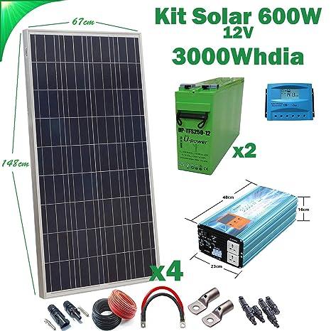 Kit Solar 12v 600W/3000W día Regulador de carga PWM 40A ...