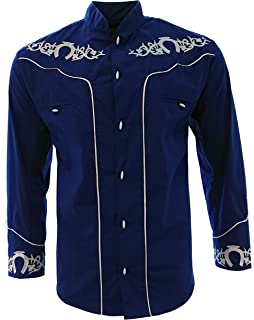 El General Mens Charro Shirt Camisa Charra Western Wear Color Blue Long Sleeve
