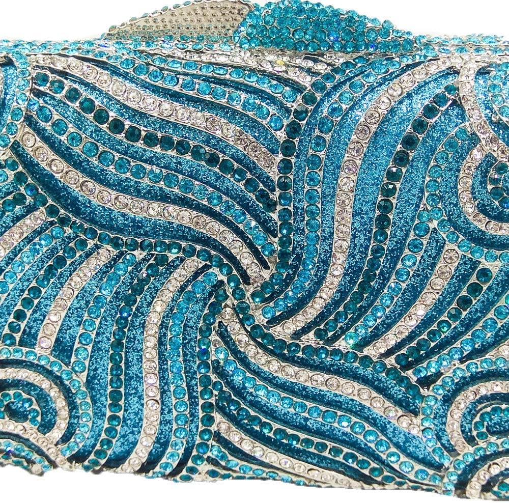 XLJJB Borsa da Sera Scintillante in Cristallo con Frange Blu da Donna Scava Fuori La Borsa da Sposa Minaudiere in Metallo 1