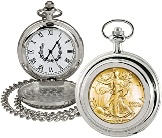 product image for Coin Pocket Watch with Quartz Movement | Gold Layered Silver Walking Liberty Half Dollar | Genuine U.S. Coin | Sweeping Second Hand, Roman Numerals | Certificate of Authenticity