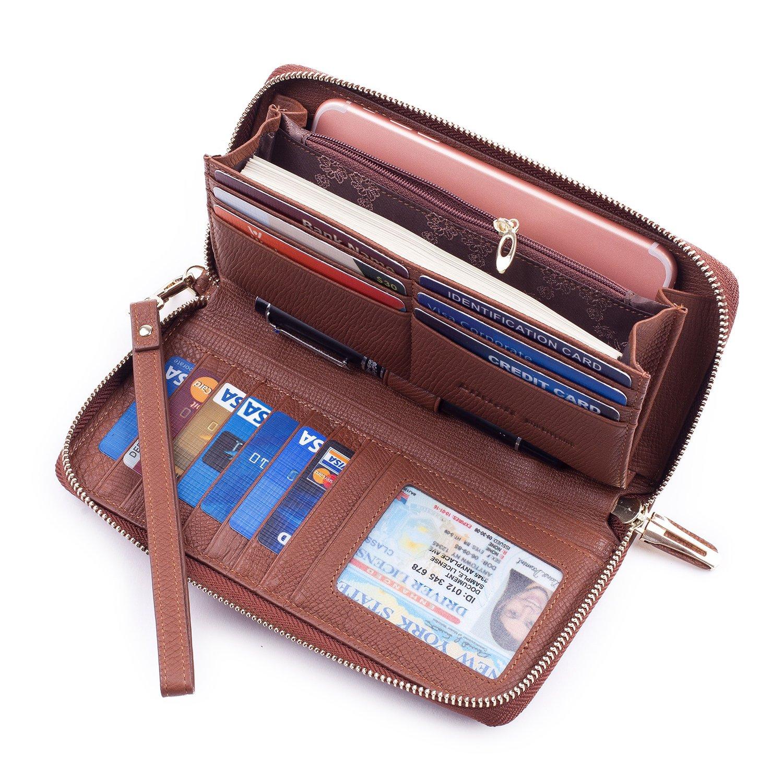 Bricraft Women RFID Blocking Wallet Leather Wristlet Organizer Zip Around Clutch Dark Brown