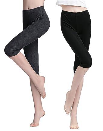 fb9189175b18ab Vinconie Women Short Leggings Cropped 3/4 Pants Under Knee Leggings Shorts  Under Skirt Summer