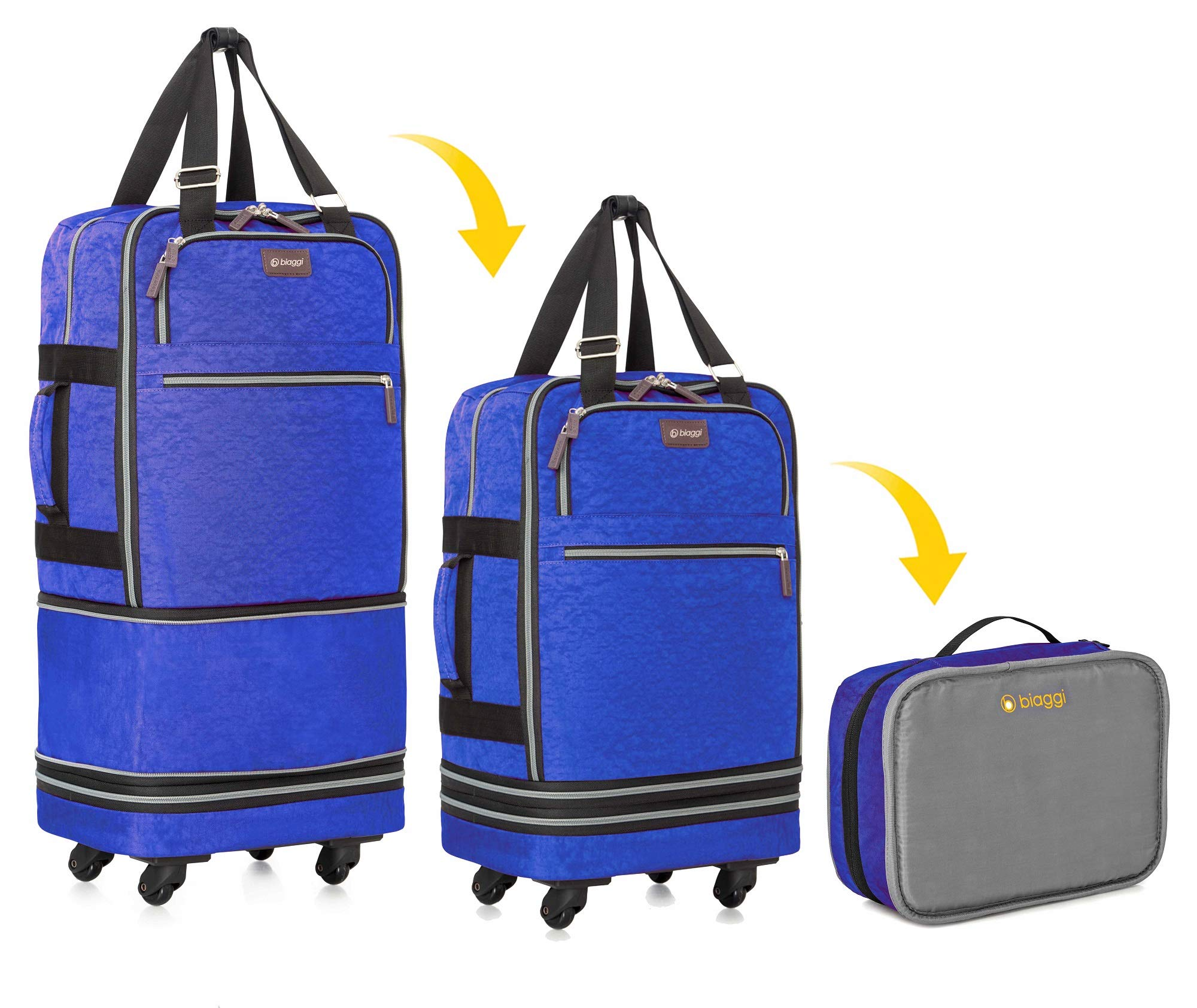 Biaggi Zipsak Boost Carry-On Suitcase - Compact Luggage Expands 22-Inches to 28-Inches - As Seen on Shark Tank - Cobalt Blue