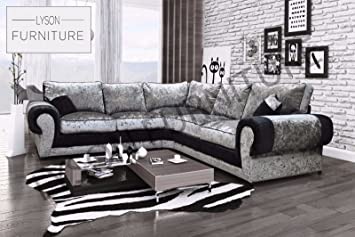 New Design Tango Large Corner Sofa Luxury Crushed Velvet Amazon Co