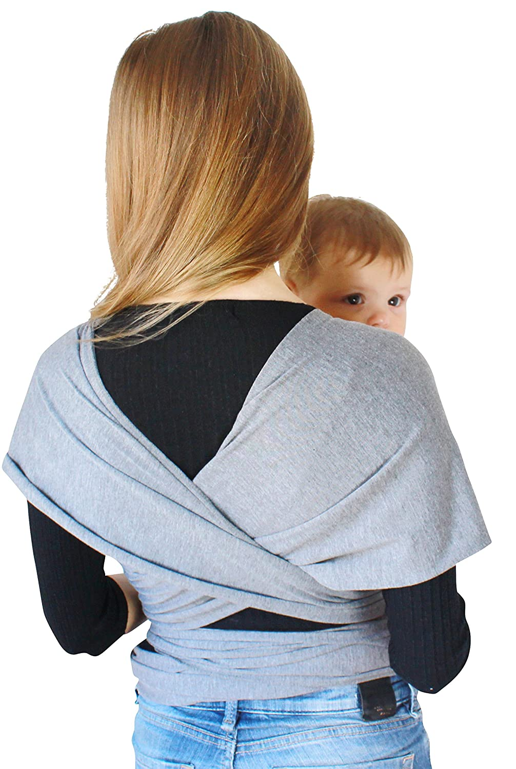 Cuddler Baby Wrap Carrier Sling Newborn and Infant Body Swaddle Wrap Multiple Sizes and Colors Fantastic Baby Shower Gift Idea Plus Size 6 Meters Long Grey