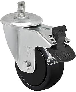 3 x 1-1//4 Swivel Caster with Wheel Lock Brake 175 lbs GLEFD 312 NPE SL 10 mm Diameter x 25 mm Length Threaded Stem Non-Marking Polypropylene Precision Ball Bearing Wheel Schioppa L12 Series