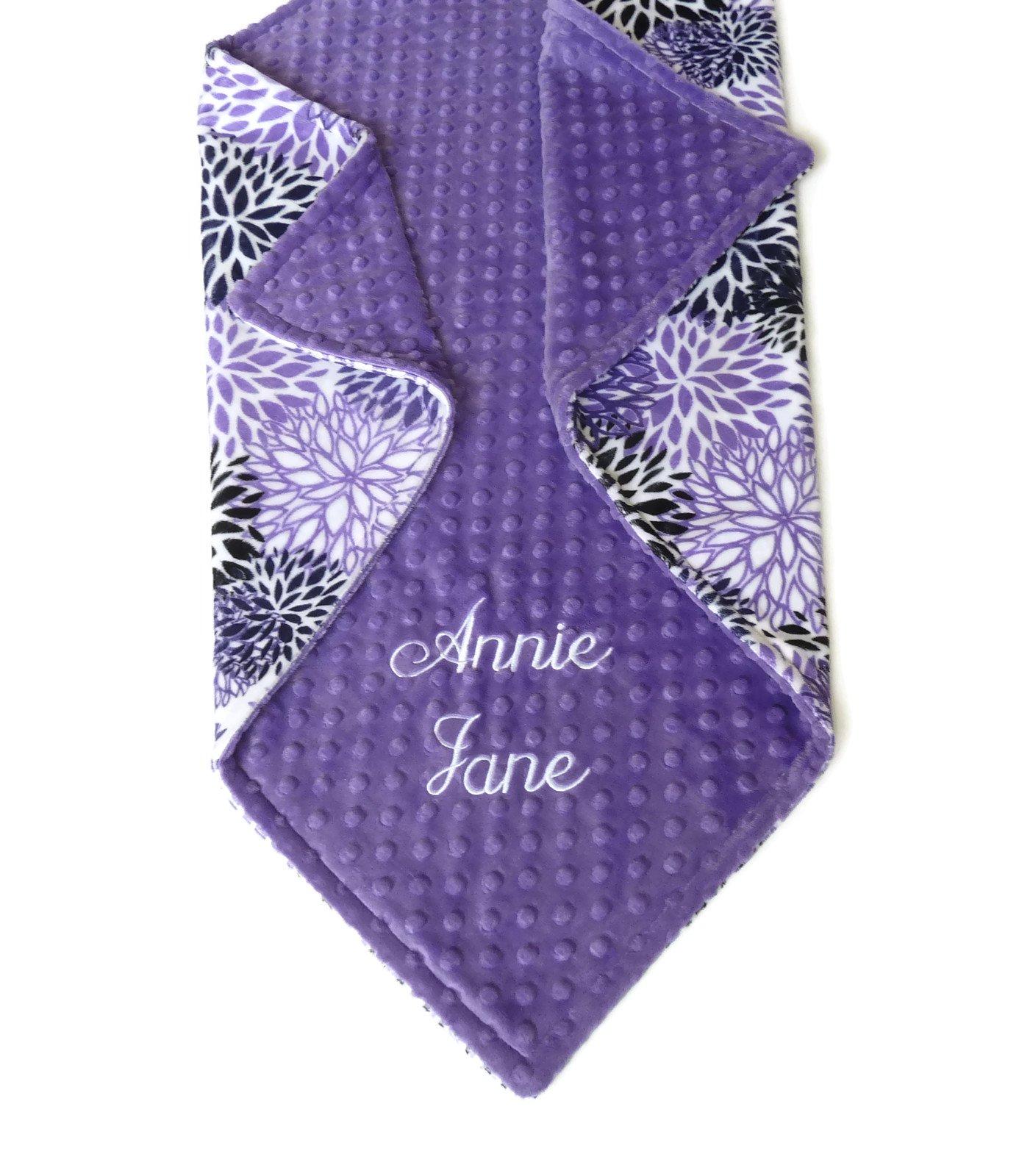 Personalized Baby Blanket or Lovey, Personalized Minky Baby Blanket, Purple Blooms Blanket