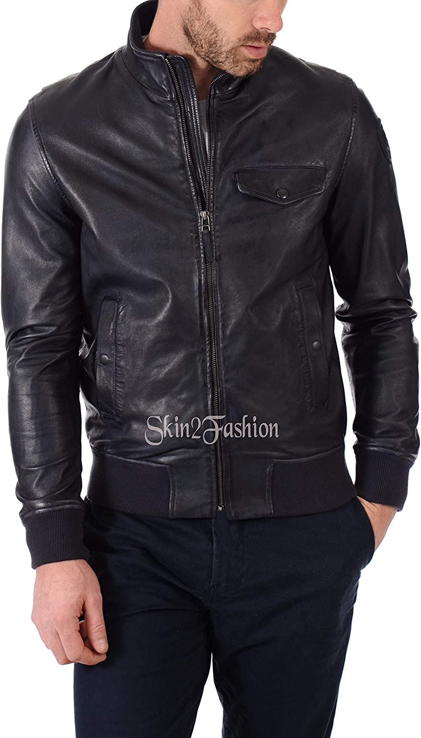 Mens Leather Jackets Motorcycle Bomber Biker Genuine Lambskin 369