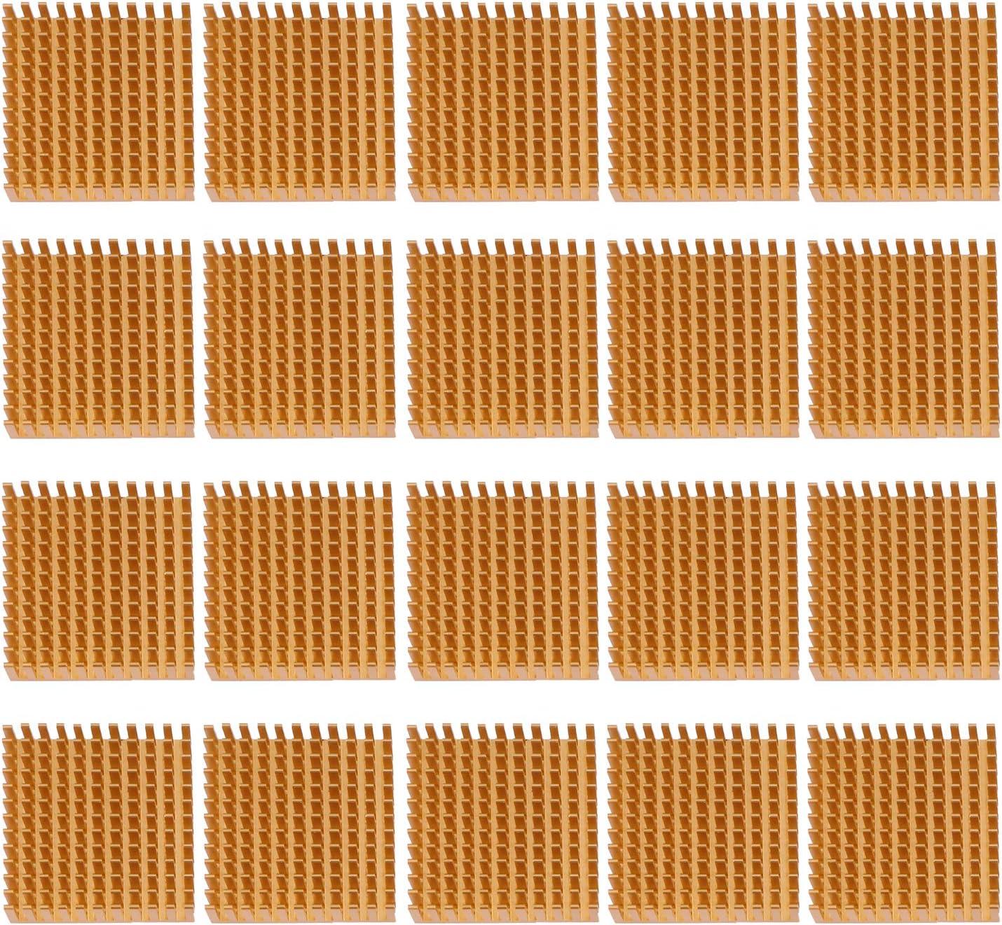 ESUMIC 20PCS 40mm x 40mm x 11mm Golden Aluminum Heatsink Cooling Fin for Cooling MOSFET VRam Regulators VRM Stepper Driver