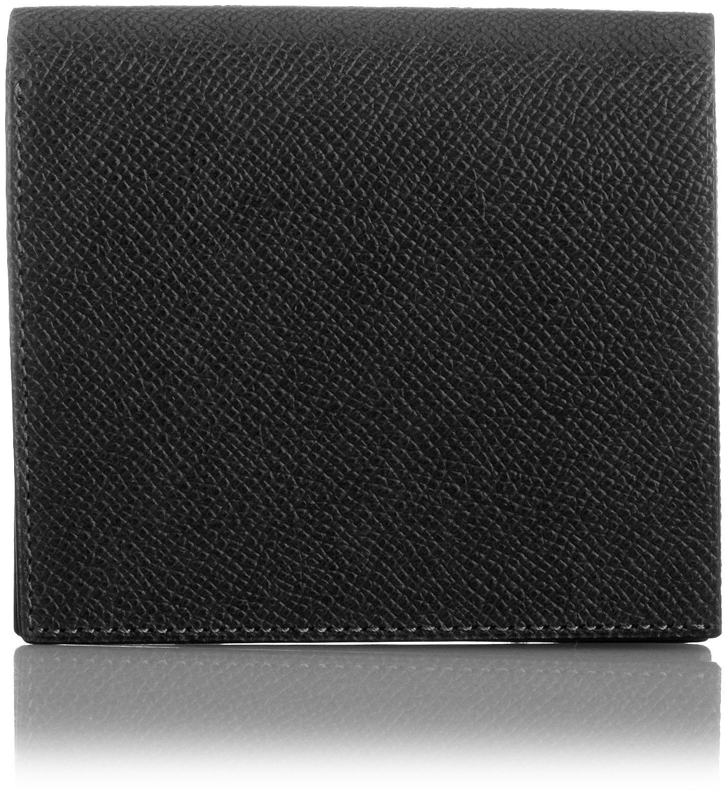 MAISON de HIROAN Leather Bifold Wallet Made in Japan 21553 Black/Blue