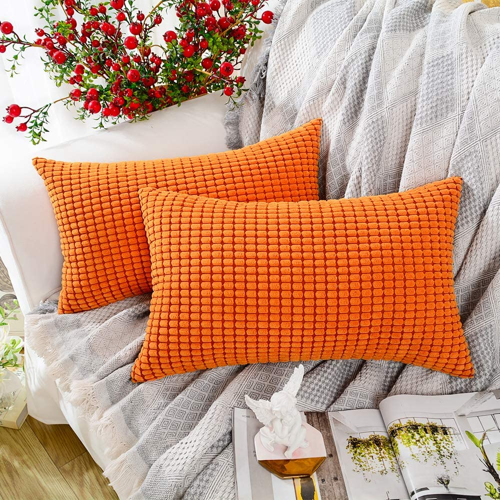 MERNETTE Pack of 2, Corduroy Soft Decorative Rectangle Throw Pillow Cover Cushion Covers Pillowcase, Home Decor Decorations for Sofa Couch Bed Chair 12x20 Inch/30x50 cm (Granules Orange)