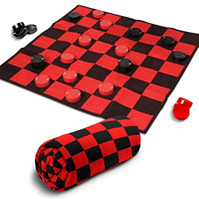 Giant Checkers Rug Set by Gamie - 34.5 x 34.5 Inch Jumbo Checker Board Floor Mat Game with Huge Pieces - Great Gift Idea for Boys and Girls, Fun Birthday Party Activity - Play Room Rug - Red and Black: Toys & Games