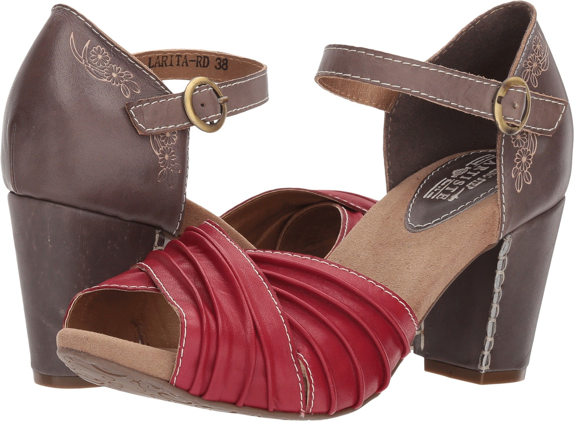 L'Artiste by Spring Step Women's Style Larita Red EURO Size 39 Leather Sandal