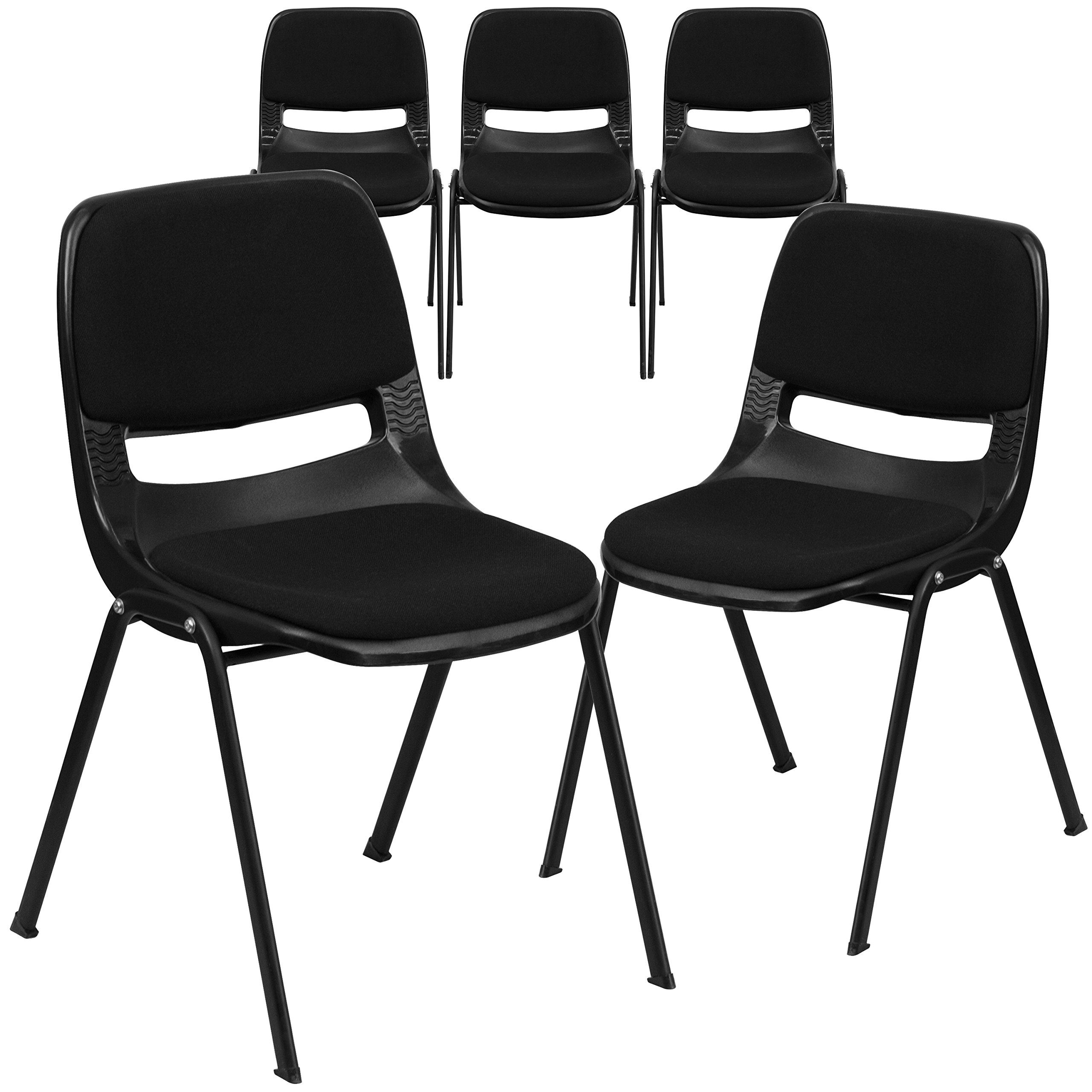 Flash Furniture 5 Pk. HERCULES Series 880 lb. Capacity Black Ergonomic Shell Stack Chair with Padded Seat and Back