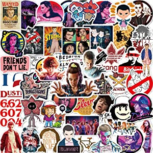 50 Pcs Funny Stickers for Stranger Things,Aesthetic Stickers for Water Bottle Laptop Skateboard Luggage Flask Computer Car Phone,Cool Vinly Waterproof Stickers for Teens Boys Kids Girl Adults.