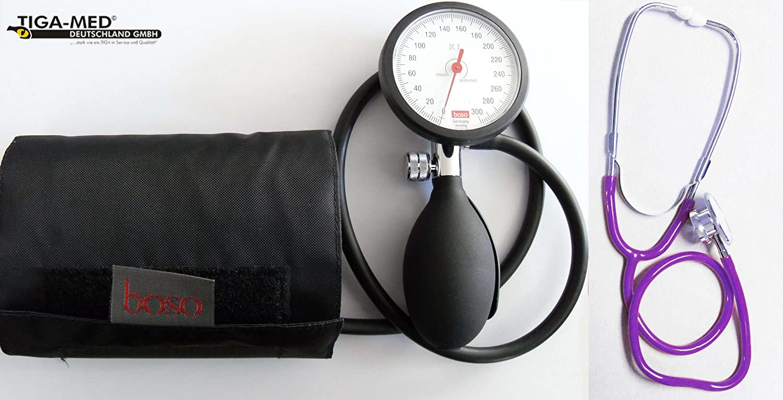 Tiga-Med Boso K 1 - Tensiómetro de brazo con estetoscopio de doble cabezal, color morado: Amazon.es: Salud y cuidado personal