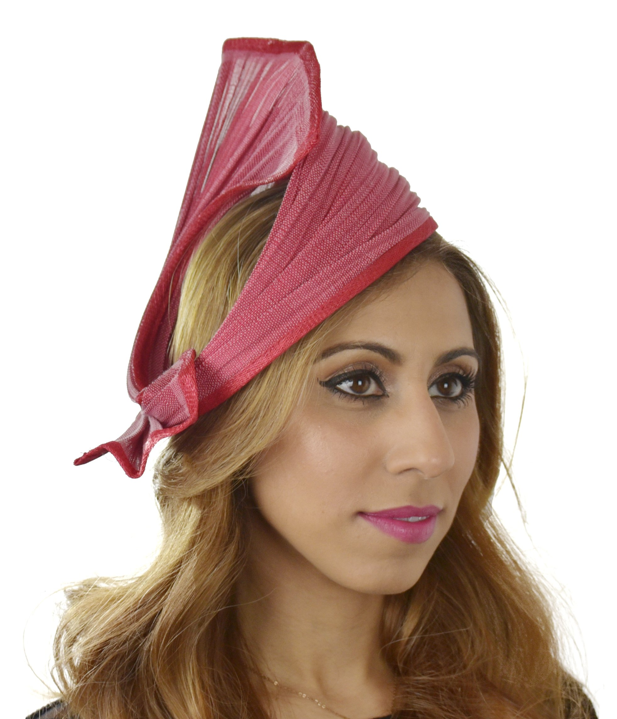 Hats By Cressida Ladies Wedding Races Ascot Derby Fascinator Headband Red