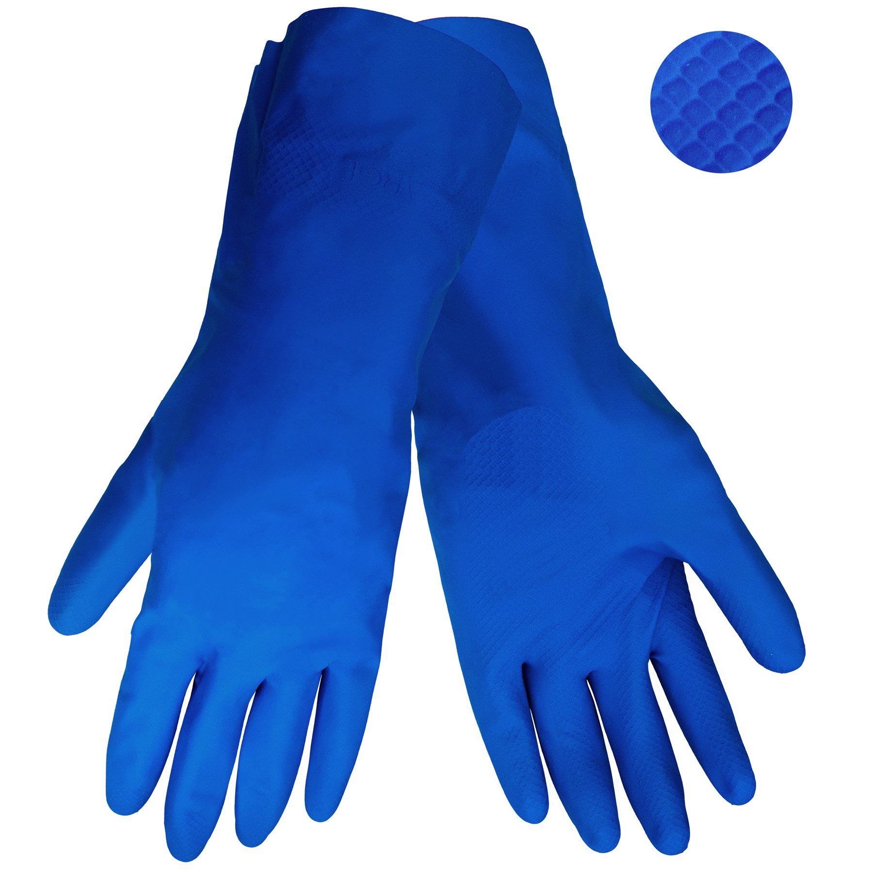 Global Glove 150 Unlined Rubber Canners Glove with Straight Cuff, Chemical Resistant, 17 mil Thick, Medium, Blue (Case of 144)