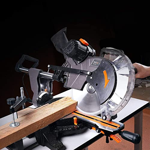 TACKLIFE Sliding Miter Saw, 12inch 15Amp Double-Bevel Compound Miter Saw with Laser, Adjustable Cutting Angle, Extensible Table, 3800rpm, Clamping Device,10ft 3Meters Cable, 40T Blade - PMS03A
