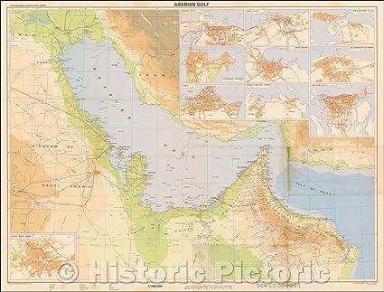 Amazon com: Historic Map | Arabian Gulf (Inset maps of