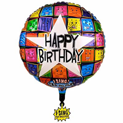 Happy Birthday Faces Singing Foil Balloon 28in., Pkg/1: Everything Else