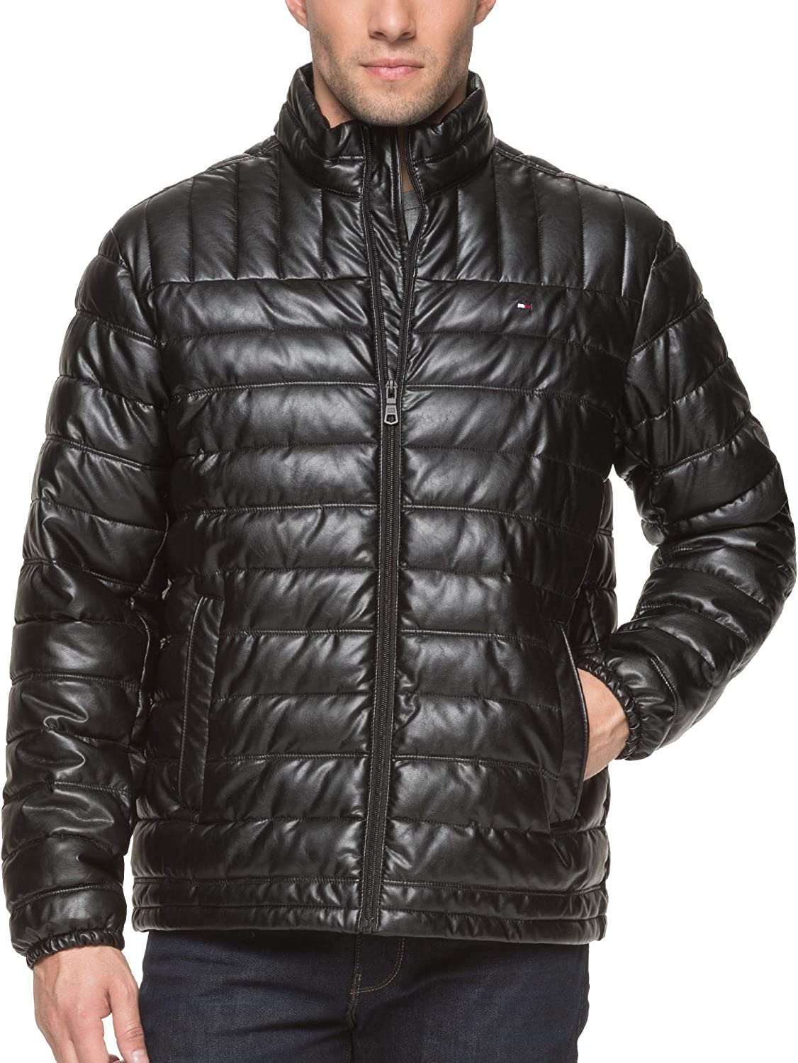 Tommy Hilfiger Mens Lightweight Quilted Faux Leather Puffer Jacket