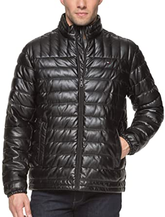 8cc170462 Tommy Hilfiger Men's Lightweight Quilted Faux Leather Puffer Jacket