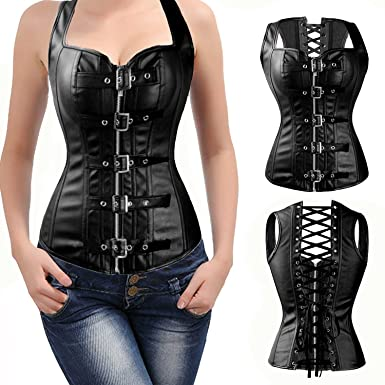 4593c524fe FLORATA Fashion Corset Top Overbust Steampunk Bustier Lace Up Women s  Buckle Zipper Faux Leather Waist Cincher Body Shaper at Amazon Women s  Clothing store