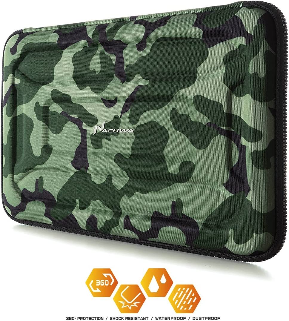 Protective Laptop Case: 13 - 13.3 Inch Computer Carrying Sleeve for 2018 New Macbook Air, Pro, Microsoft Surface or Chromebook - Padded, Waterproof and Shockproof Hard Lap Top Cover Cases – Camo