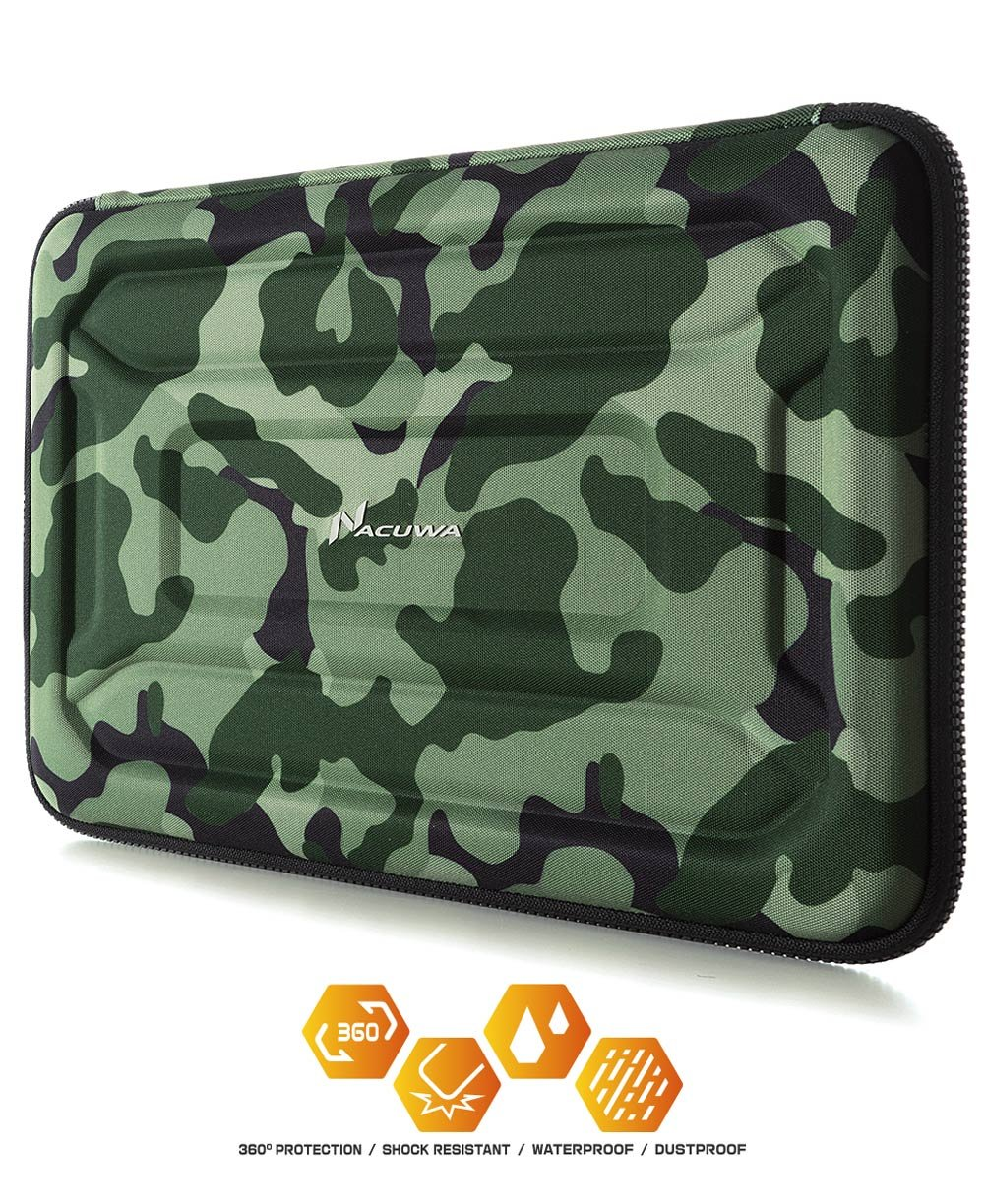 Protective Laptop Case: 13 - 13.3 Inch Computer Carrying Sleeve for 2018 New Macbook Air, Pro, Microsoft Surface or Chromebook - Padded, Waterproof and Shockproof Hard Lap Top Cover Cases - Camo