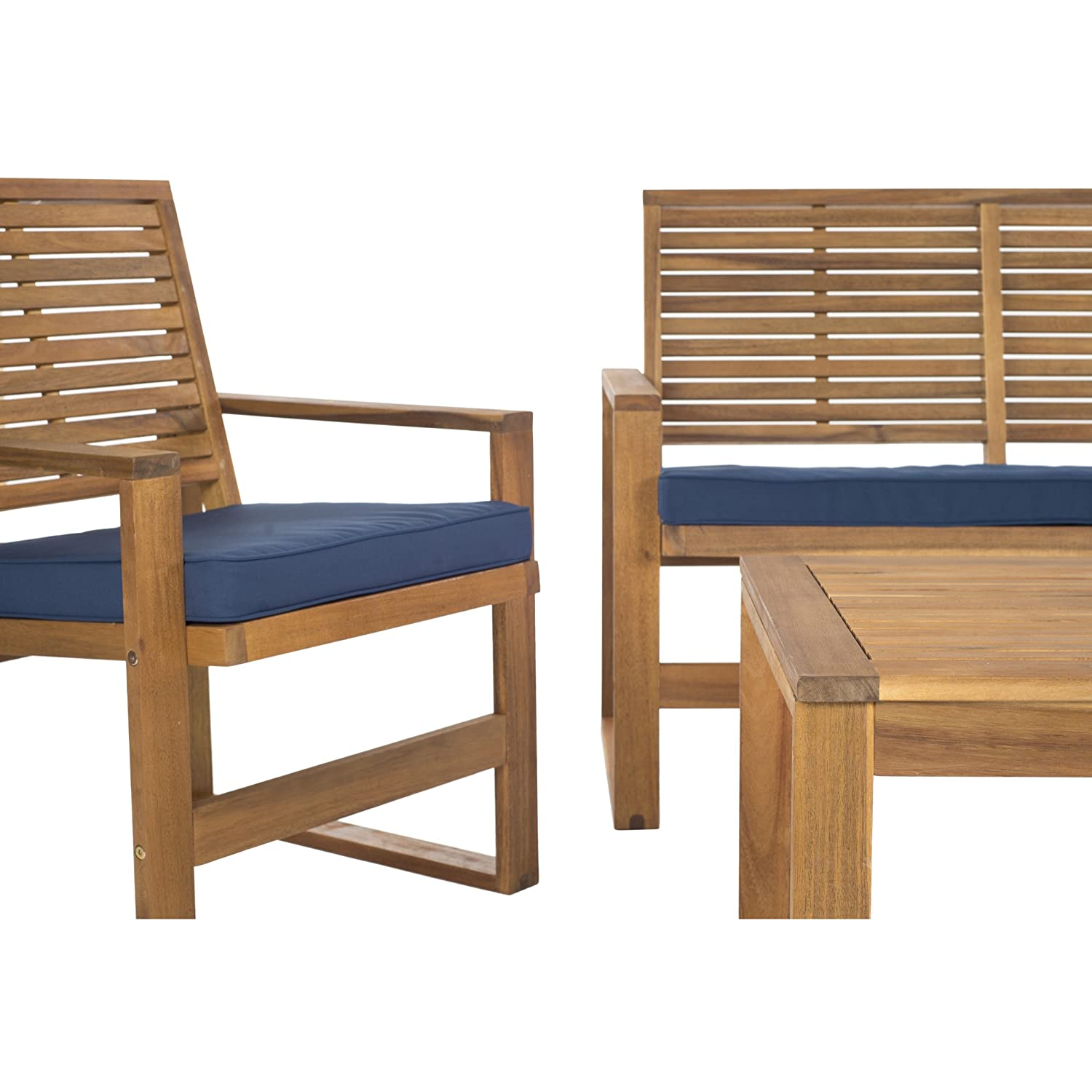 Amazon.com : Safavieh Home Collection Hailey Outdoor Living 4 Piece Acacia Patio  Furniture Set, Brown And Navy : Garden U0026 Outdoor