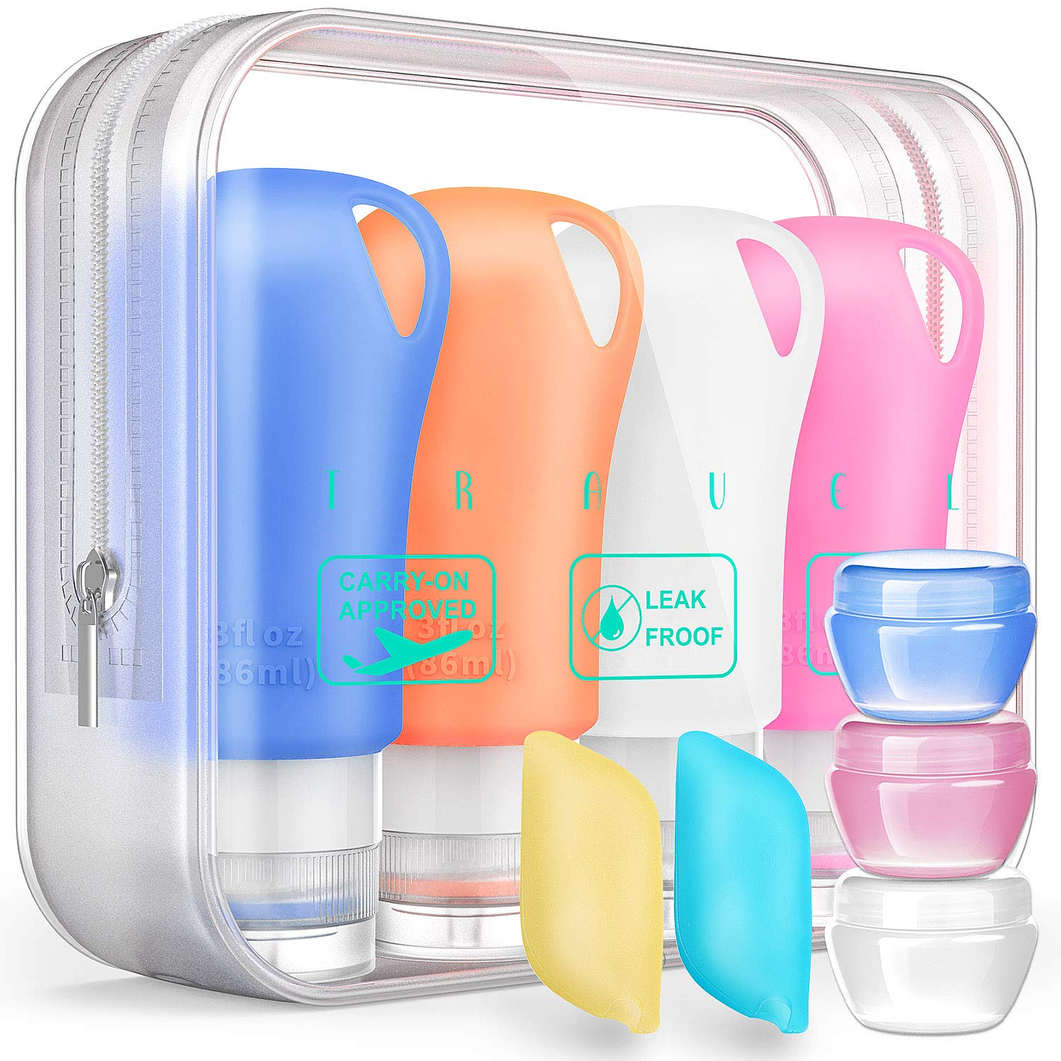 Silicone Travel Bottles, 3 oz TSA Approved Travel Size containers for toiletries, Leak proof Travel Shampoo And Conditioner Bottles With Toothbrush and Cream Jars