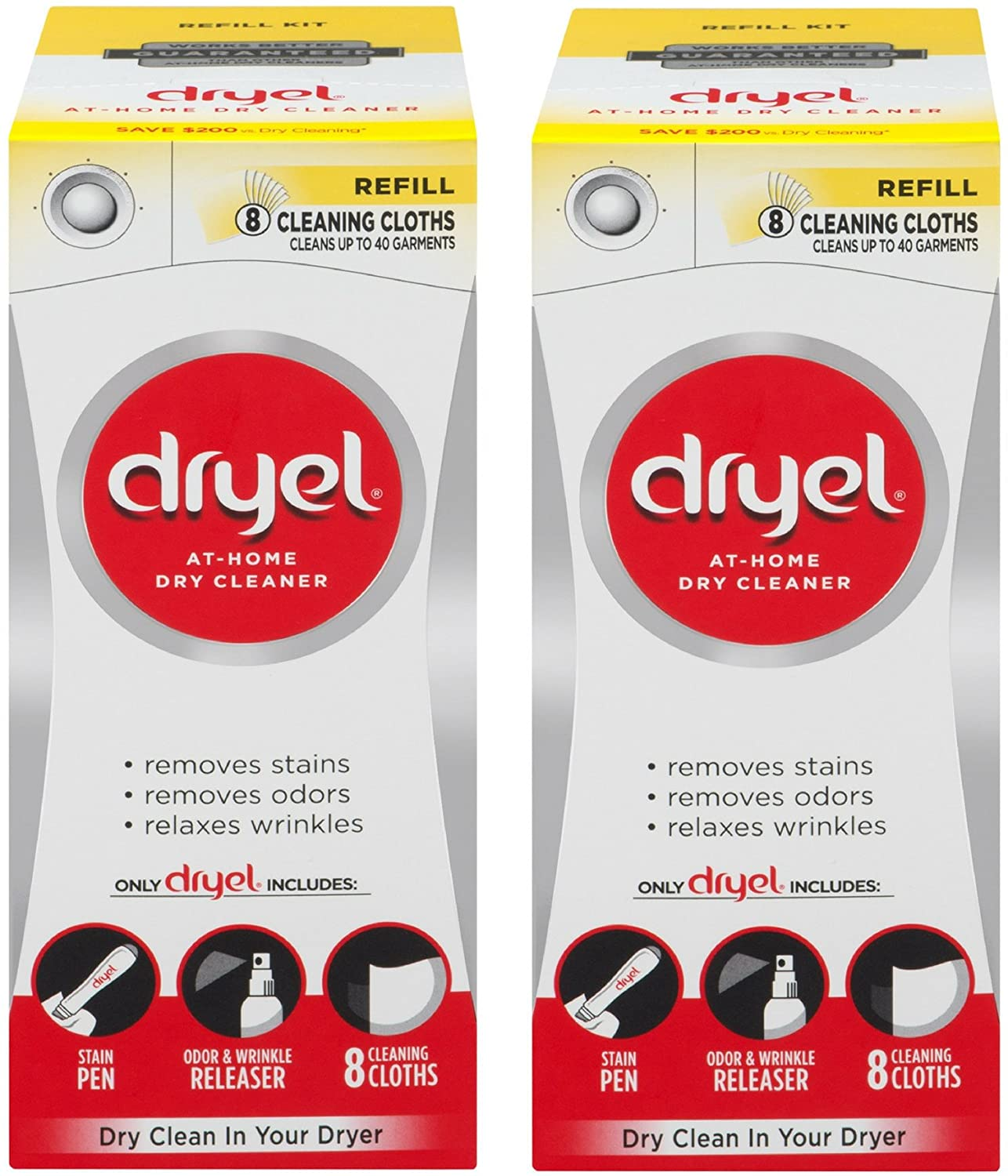 Dryel At-Home Dry Cleaner Refill Kit, 8 Count - 2 Pack